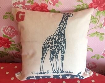 Giraffe pillow - G Giraffe cushion - Mom giraffe gift - Mother's Day gift - G initial birthday gift
