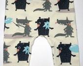 Organic baby leggings unisex leggings in wolf  bear bubble gum print cotton baby leggings cream leggings