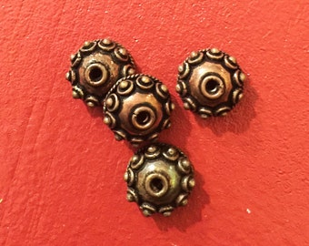 Bali Cap Beads Copper Antique Set of 4 at 8mm round Ornate and very original unique, Metal beads and copper cap beads