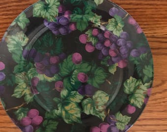 """Hand Painted*Bushel Of Flowers Painted On The Bottom Side Of 9"""" Glass Plate* Exquisite*"""