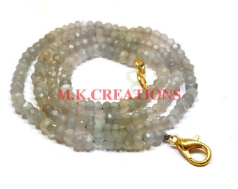 """On Sale Natural Gray Moonstone 3-4mm Faceted 34"""" Beads Necklace - Moonstone Necklace - Gray Moonstone Faceted Beads - Moonstone Rondelle"""