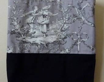 French Toile de Jouy Grey with Black 2 tones cotton bag