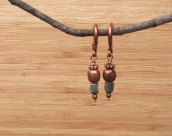 Emerald and copper earrings