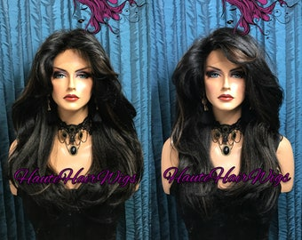 Black with Auburn Copper Highlights  Straight  Human Hair Blend Multi-Part Swiss Lace Front Wig - Kimberly
