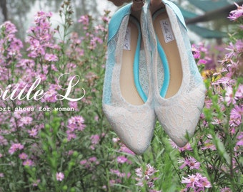 Lace Shoes - Sky Light Blue Lace Shoes Casual Flat or Heels Custom