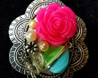 One of a Kind spring colors, pendant silver tone collage necklace , pink rose, vintage items! OOAK