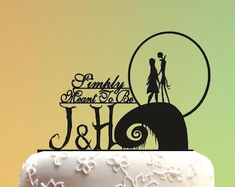 Wedding Cake Topper - jack and sally cake topper - Wedding Cake Topper -  Nightmare Before Christmas  Wedding cake topper monogram M1-01-003