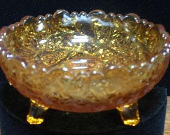Vintage Miniature Amber Footed Bowl