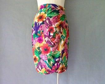 vintage silk floral tulip skirt size S