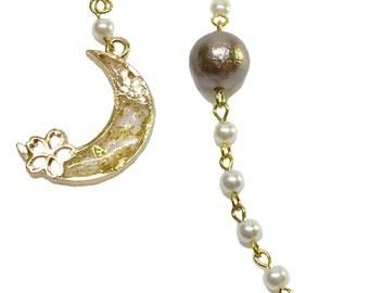 "earrings ""moon and beads"" asymmetry"