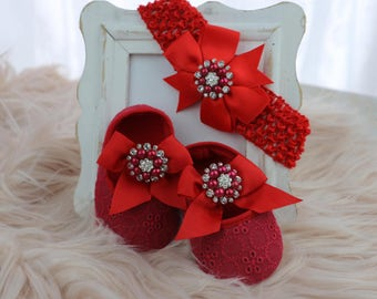 Baby shoes and head band in ruby red-set of shoes with matching head band ruby-shoes and head band ruby red with large ruby embellishment