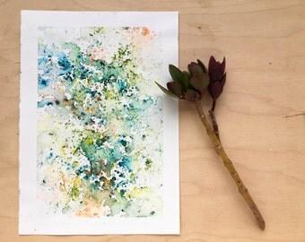 Original watercolour painting - Rain Painting  - Rainforest Canopy Zest - Original Painting - A5 - Desk Art