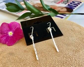 Earrings in silver, silver thread earrings,