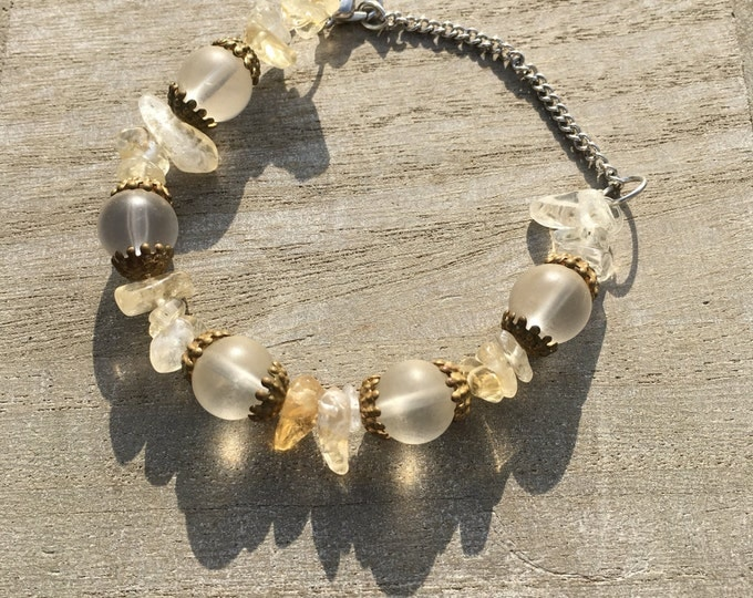 Handmade Citrine bracelet with frosted beads and gold caps