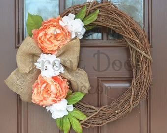 Front Door Wreath / Spring Front Door Wreath with Burlap Bow / Spring Wreaths / Monogram Wreath / Easter Wreath/ Mother's Day Gift
