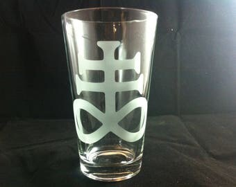 Etched Brimstone 16 oz. beer glass.
