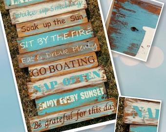 Lake Sign/ Wooden Sign, Rustic lake sign, boating sign, Lake wooden sign, Distressed wood sign, Lake house,