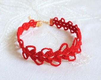 Elegant Red Crochet Choker