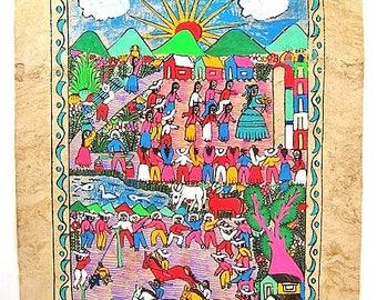 Vintage Mexican Amate Folk Art Bark Painting Village Life Wedding Fiesta