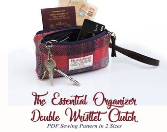 The Essential Wristlet Cell Phone Pouch. PDF Sewing Pattern. Organizer clutch purse