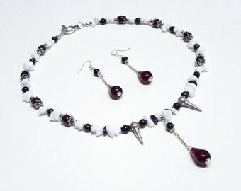 Vampire Bite Necklace & Earring Set