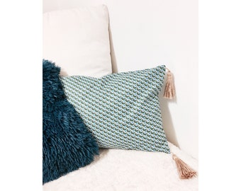 Green feather cushion