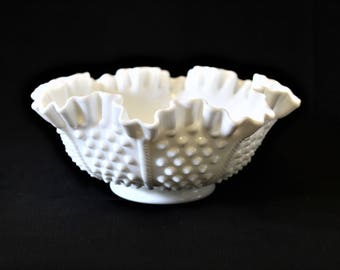 """Vintage Fenton Milk Glass Hobnail Pinched Ruffled Edge 8"""" Bowl, Beautiful Collectible Milk Glass Bowl, Home Decor, Cabinet Display, Giftware"""