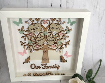 Beautiful Handmade 'Our Family' tree frame