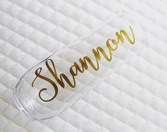 Customized Champagne Flutes ~ Personalized Champagne Glasses ~ Stemless Personalized Wine Glasses ~ Bachelorette Stemless  Custom Flutes