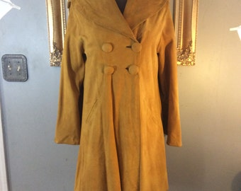 JoKay 1970's Mustard Yellow Suede Coat: Custom Made