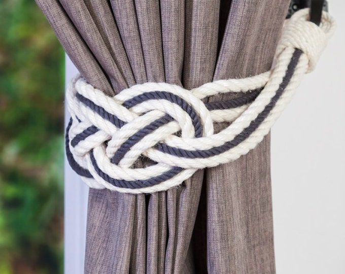 Double Carrick Bend Two Colour Curtain Tiebacks Charcoal gray and Ivory white Nursery Window Hold-Backs Nautical Style Ties Shabby Chic
