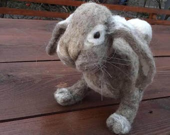 A needle felted hare Lepus