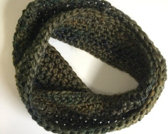 Olive Green Infinity Scarf: chunky crochet cowl