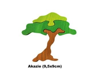 Mini Puzzle Acacia / Handmade / Animals / Wooden toys / Zoo / Africa / Waldorf / Montessori