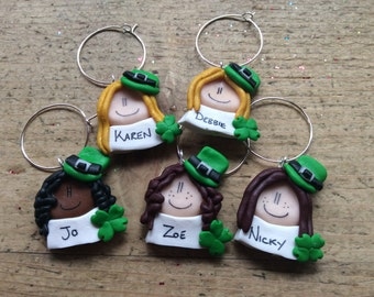 Wine charm One Only st Patrick's day wine glass charm Personalised name Handmade