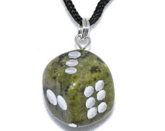 Hand Carved Natural Green Serpentine Gemstone D6 Dice Pendant Collectible