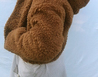 Brown Fake fur hoody jacket / 100% brown  cotton lining/ front pockets
