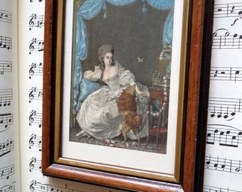 Vintage print in picture frame-miniature painting by Pierre Chasselat * Lady with her poodle * miniature painter-from Book of 1926-