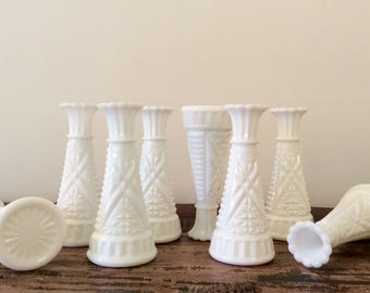 "Set of 8 Mid-Century Anchor Hocking Milk Glass Stars and Bars 6"" Bud Vases - Barn or Rustic Chic Wedding Decor"