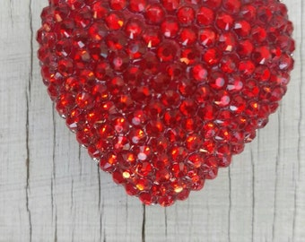 Red Valentine heart 42MM rhinestone pendant for bubblegum necklace girl's jewelry chunky gumball necklace wholesale supplies gumball