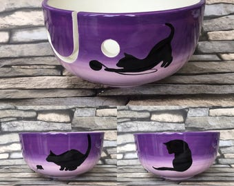 yarn bowl, cat, knit, knitting, crochet, crocheting, gifts for her, Mother's Day, yarn, wool, wool bowl