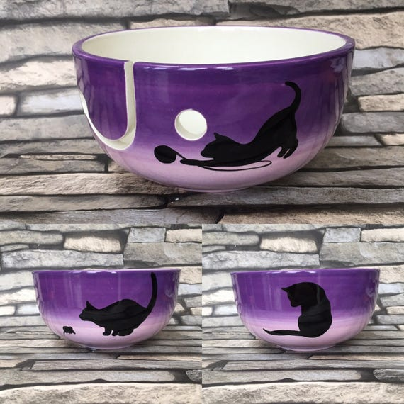 Yarn Bowl With Cat Silhouette