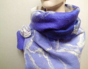 Easter gift for her designner felted wool long scarf for women with brooch ultra violet purple-white gift for sister wife winter accessories