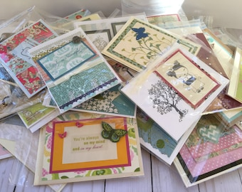 Sale! Blowout 7 Handcrafted Cards, Variety of Handmade cards, Consists of Thank you, Anniversary, Wedding, Baby, friendship, Any Occasion