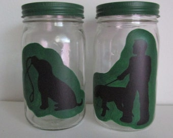 Hand-Painted Quart-sized Mason Jar Dog Treat Jars, featuring Silhouette Art, set of 2 - Color Customizable