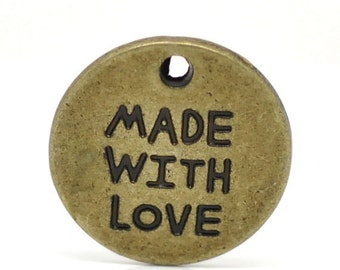 "30 vintage metal pendant round ""made with love"" bronze approx. 19mm"
