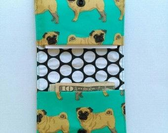 Pug wallet, simple cloth business card holder, hand sewn wallet for Pug lovers, dog lover gift, minimalist vegan wallet