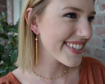 Mixed Chain Tassel Earrings - Dainty, lightweight earrings