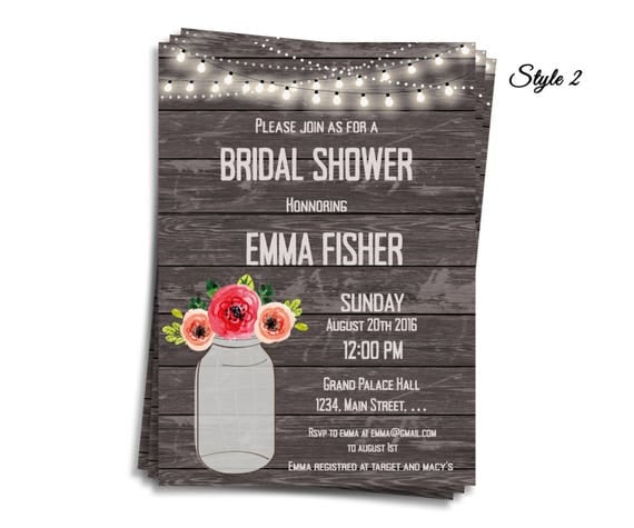 Rustic Wood and Lights Bridal Shower Invitations