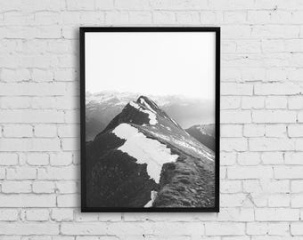 Mountain art, Mountain print, Landscape wall art, Black and white photography, Printable photo, Landscape print, Scandinavian art